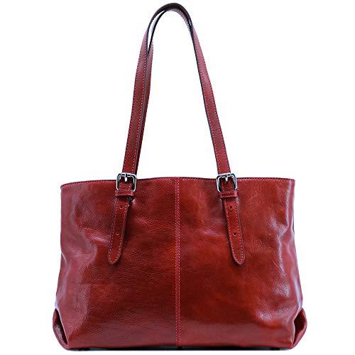 Floto Venezia Italian Leather Shopping Tote Bag Shoulder Bag Women's (Tuscan Red)