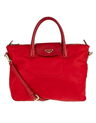 Prada Women Tessuto Saffiano Shopping Bn2541 Red Nylon Tote