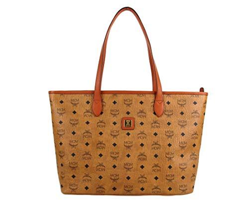 MCM Women's Cognac Brown Coated Canvas Medium Shopper Tote MWP8AXL62CO001