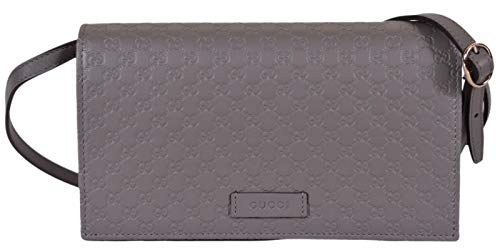 Gucci Leather Micro GG Guccissima Crossbody Mini Purse (Loess Grey)