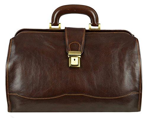 Leather Doctor Bag Medical Satchel Unisex Dark Brown – Time Resistance