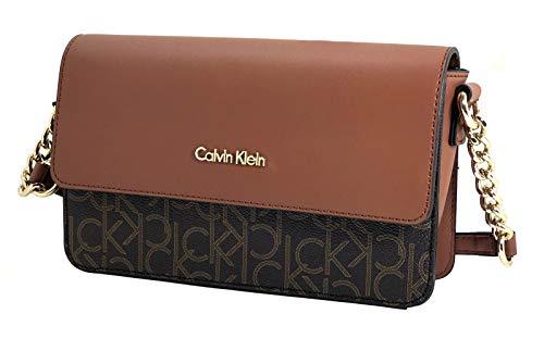 Calvin Klein Handbag, CK Logo Monogram Crossbody (Brown/Khaki/Camel)
