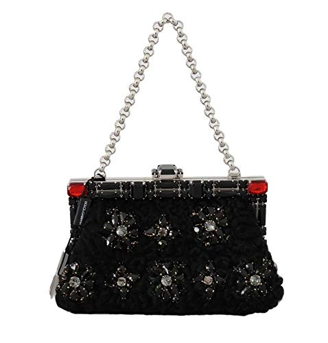 Dolce & Gabbana Black Crystal Bag Vanda Clutch Bag