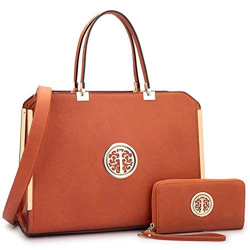 Women Designer Handbags Tote Bag Satchel Handbag Shoulder Bags Tote Purse Wallet Set, 02-6900-Brown