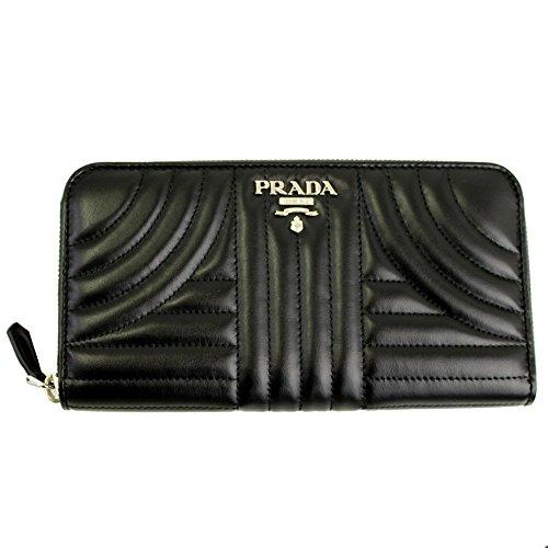 Prada Black Quilting Leather Long Wallet 1ML506 Nero Zip Around