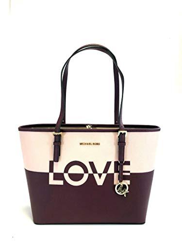 Michael Kors Jet Set Carryall Travel Medium LOVE Bag Ballet Merlot