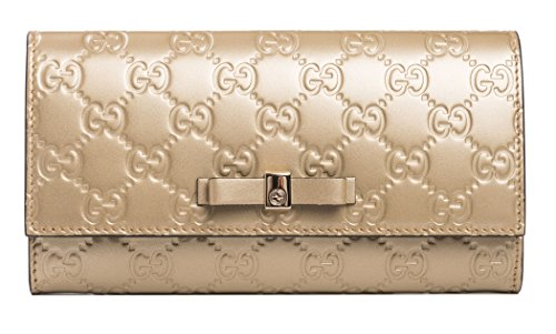 Gucci GG Platinum Gold Guccisima Wallet Leather Bowie Bow New Italy Box
