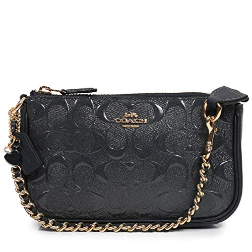 Coach Signature Debossed Patent Leather Large Wristlet Chain