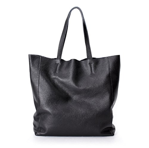 La Poet Women's Cowhide Leather 2 in 1 Bucket Shopping Tote Handbag with Removable Pouch