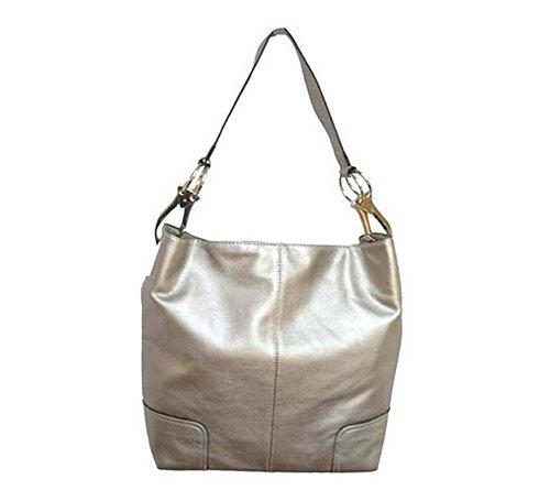 Classic Tall Large TOSCA Hobo Shoulder Handbag Silver Buckles (Light Pewter)