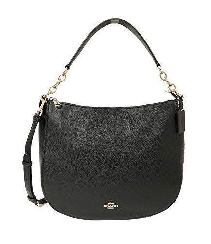 Coach Leather Elle Crossbody Hobo Purse in Black/Silver – #F31399