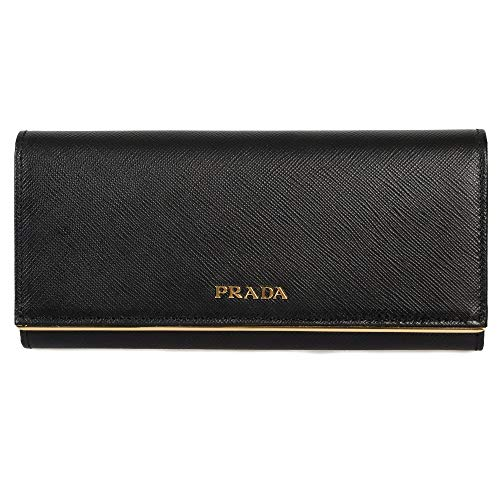 Prada Women's Black Saffiano Leather Wallet with Flap and Gold Metal Bar