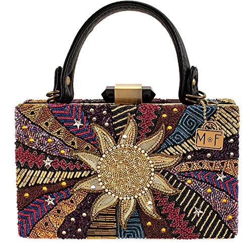 Mary Frances Eclipse, Beaded Multicolored Sun Top-Handle Handbag
