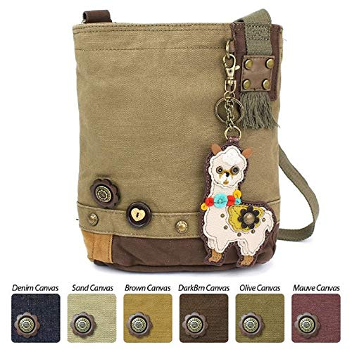 Chala Handbag Patch Crossbody Messenger Olive Green Bag Canvas Llama