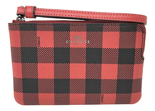 Coach Coated Canvas in Gingham Print Ruby Multi F39109