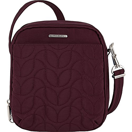 Travelon Anti-Theft Quilted Tour Bag – Extra Small RFID Lined Crossbody for Travel & Everyday – (Dark Bordeaux/Dusty Rose Interior)