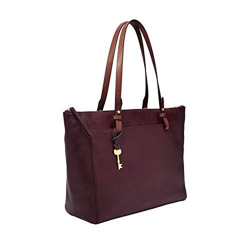 Fossil Women's Rachel Leather Tote Handbag, Fig