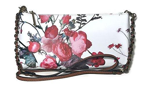 ELLIOTT LUCCA White Red Floral Rose Artisan 3 Way Handbag 106675