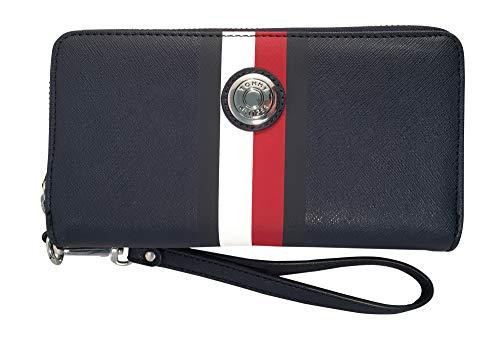 Tommy Hilfiger Women's Navy Blue Red Double Zip Around Wallet, Wristlet