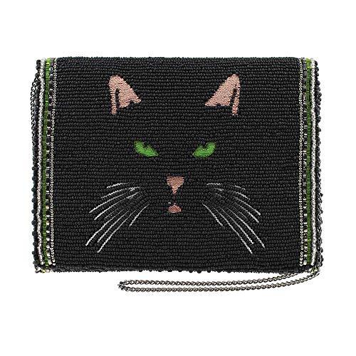 MARY FRANCES Meow Beaded & Embroidered Black Cat Mini Crossbody Handbag