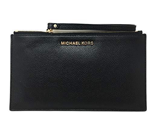 Michael Kors Jet Set Item Large Zip Clutch, Black Leather, Medium