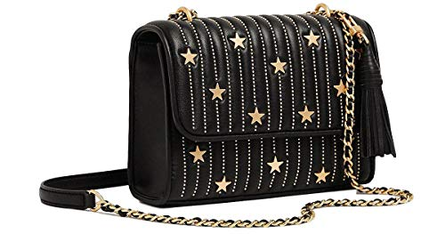 Tory Burch Fleming Star-Stud Small Convertible Shoulder Bag, Black