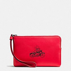 Coach X Disney Limited Edition Leather Corner Zip Wristlet, Red, Mickey on Motorcycle