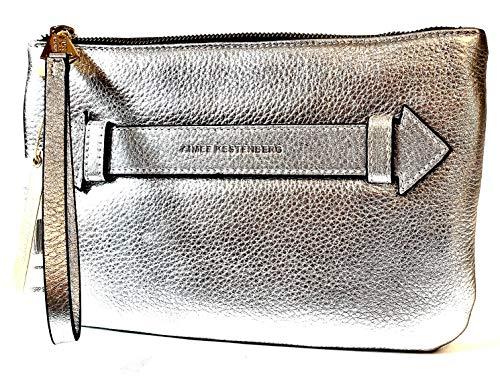 Aimee Kestenberg Melville Pouch Wristlet Silver Pebble Metallic Leather
