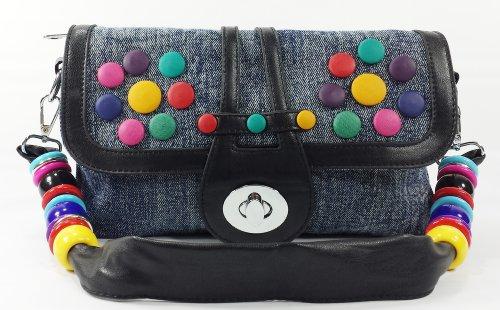 k13505 Mylux Women/Gril Close-out CANDY Denim Clutch Bag (black)