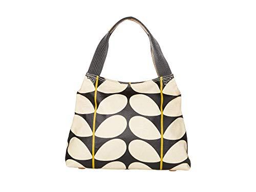 Orla Kiely Solid Stem Print Classic Zip Shoulder Bag Black One Size