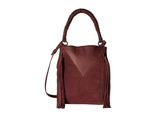 Sam Edelman Womens Monica Leather Fringe Bucket Handbag Purple Large
