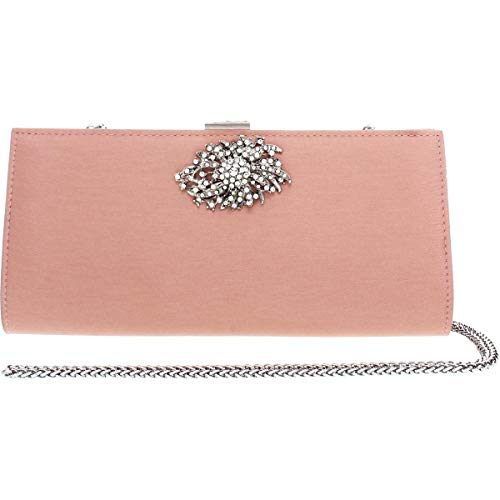 Adrianna Papell Womens Stacee Satin Jewel Evening Clutch Pink Small