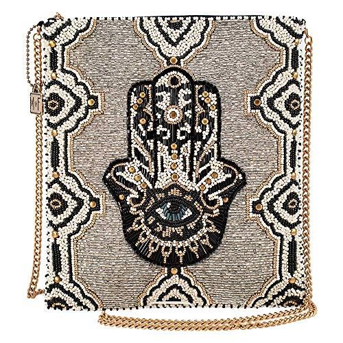 Mary Frances Hamsa, Beaded Crossbody Zip Top Handbag