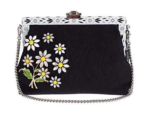 Dolce & Gabbana – Purse VANDA Black Brocade Floral Crystal Clutch
