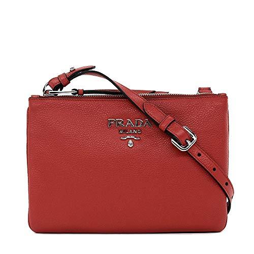 Prada Women's burgundy Red with Silver Hardware Vitello Phenix Leather Crossbody Handbag Bag 1BH046