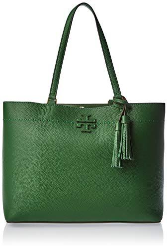 Tory Burch McGraw Pebbled Leather Tote Handbag in Arugula