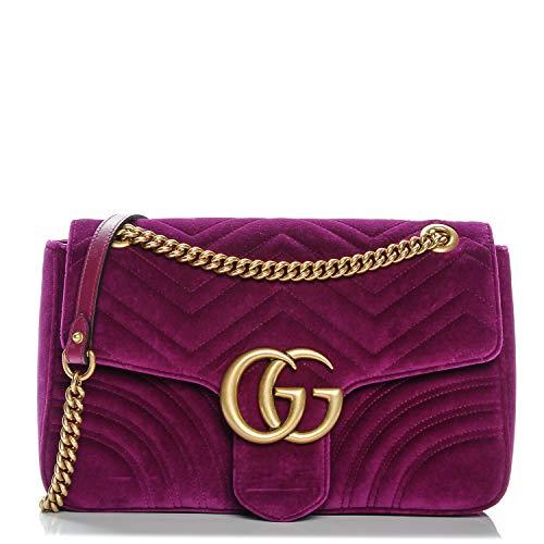 Gucci Fucshia Marmont Pink Velvet Handbag Bag New
