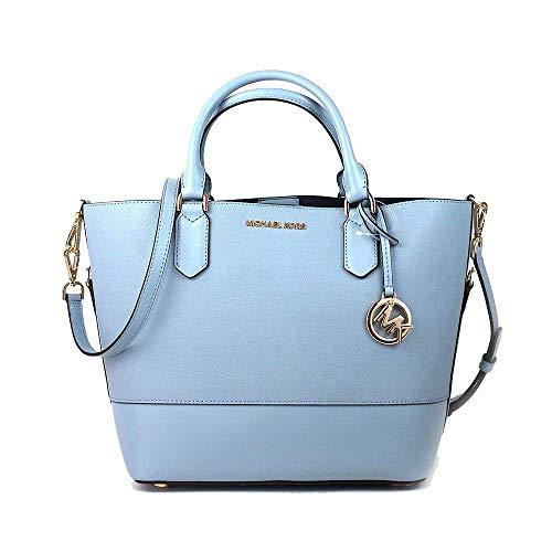Michael Kors Trista Large Leather Grab Bucket Bag Purse – Pale Blue