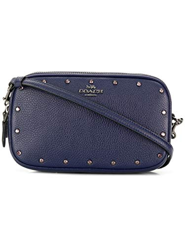 COACH Crossbody clutch with rainbow rivets, Cadet