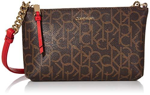 Calvin Klein Hayden Key Item Signature Top Zip Chain Crossbody, Brown/Khaki/Poppy