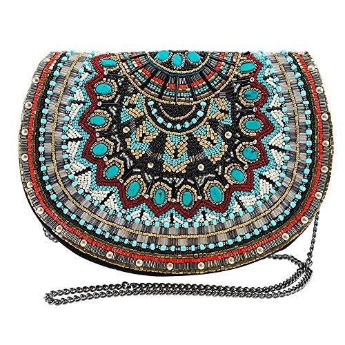 MARY FRANCES Girl Tribe Beaded Western Pattern Crossbody Saddle Handbag