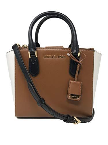 Michael Kors Carolyn Small Soft Leather Tote Womens Bag (Black/Luggage Optic)