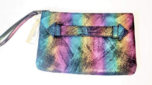 Aimee Kestenberg Melville Pouch Wristlet Black Rainbow Shimmer Leather