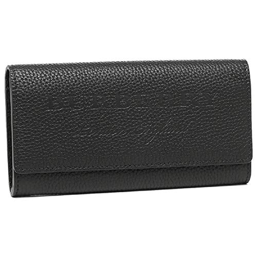 Burberry Women's Black Pebbled Leather Large Wallet