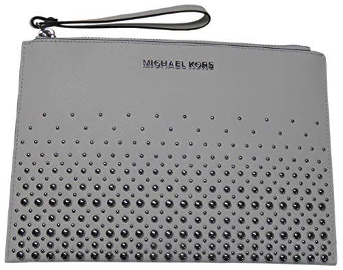 Michael Kors Jet Set Travel Saffiano Leather XL Zip Clutch Optic White