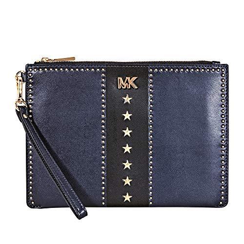Michael Kors Medium Leather Zip Pouch- Navy/Black