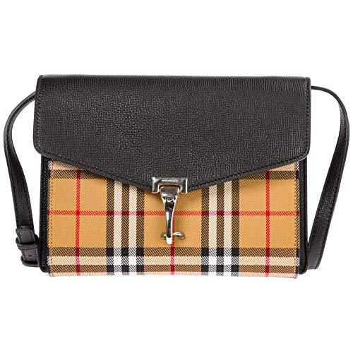 Burberry Small Vintage and Check Crossbody Bag- Black