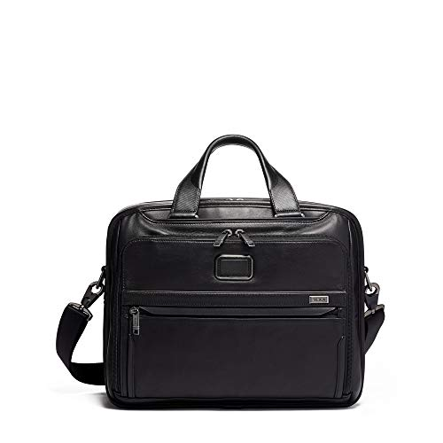 TUMI – Alpha 3 Organizer Leather Laptop Brief Briefcase – 15 Inch Computer Bag for Men and Women – Black