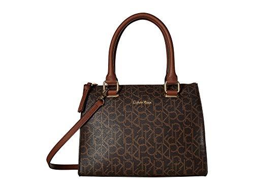 Calvin Klein Women's Halle Hudson Monogram Satchel Brown/Khaki/Luggage Saffiano One Size