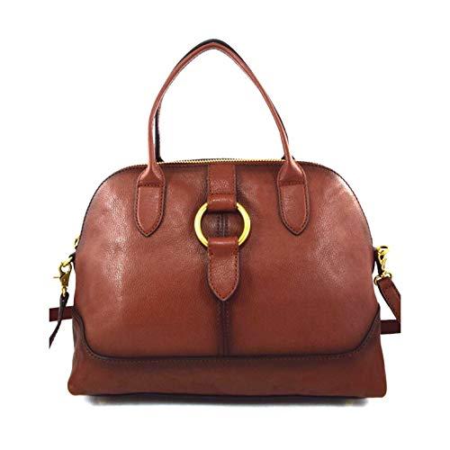 FRYE Ring Dome Satchel Handbag With Sling, Cognac?Brown Leather